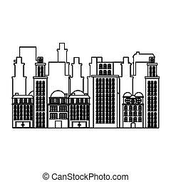 urbain, silhouette, appartements, résidentiel, scène, cityscape, icône