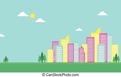 urbain, silhouette, couleur ville, plat, vecteur