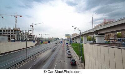 urbain, sommet, timelapse, rue, trafic, hyperlapse, begovaya, moscou, transport, vue