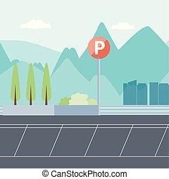 urbain, stationnement, scène, zone, icône