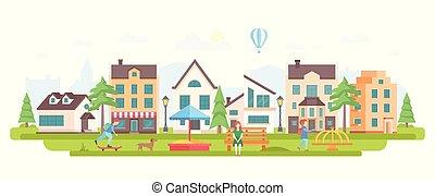 urbain, style, district, plat, moderne, -, illustration, vecteur, conception