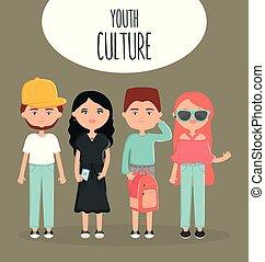 urbain, style, groupe, gens, jeune, accessoires