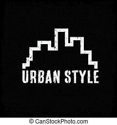 urbain, style, grunge, vecteur, conception, gabarit