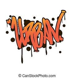 urbain, style, rue, graffiti, art.