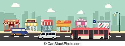 urbain, style, vecteur, .public, autobus ville, illustration, cars., plat, bâtiments, rue, storefront, design.business, minibus, principal, arrêt, public, magasin