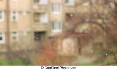 urbain, tempête neige, laid, concentré, devant, citys