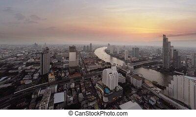urbain, trafic, 4k, rivière, route, résumé, vidéo, ...