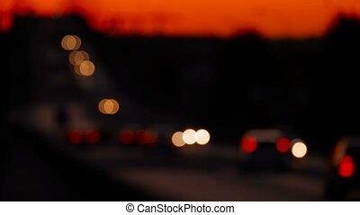 urbain, trafic, defocused, coucher soleil, temps