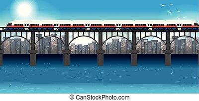 urbain, train, moderne, transport