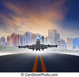 urbain, usage, fermé, jet, transp, air, pistes, aéroport, avion, prendre