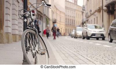 urbain, vélo, piétons, voitures, -, historique, rue, trafic