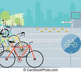 urbain, vélo, zone, scène, stationnement, icône