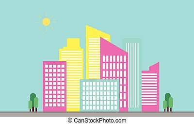 urbain, vecteur, paysage, plat, silhouetes