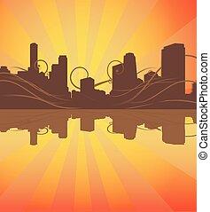 urbain, vecteur, silhouette, arrière-plan.