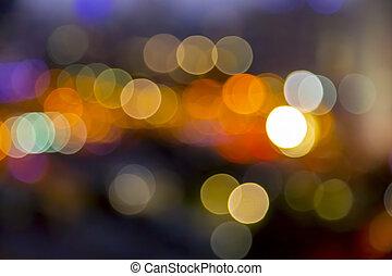 urbain, ville, image, lumières, bokeh, defocused