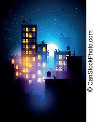 urbain, ville, nuit