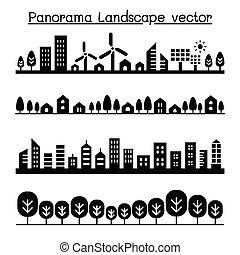 urbain, ville, vecteur, illustration, graphique, panorama., conception, paysage