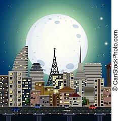 urbain, vue, nuit