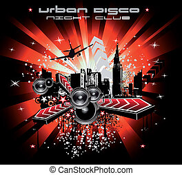 Urban Abstract Disco Music Background - Colorful Urban Music...
