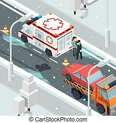 Urban accident crash cars. Winter warning on road slip wreck automobile vector landscape isometric