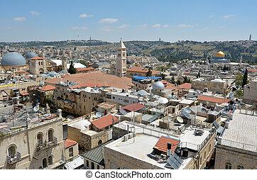 Urban aerial view of Jerusalem Old City - Israel