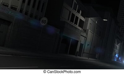 An urban night street scene with cars painting colourful graffiti streaks on the walls.