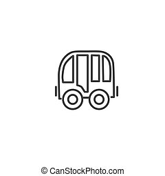 Urban and city element icon - bus in trendy simple line art style
