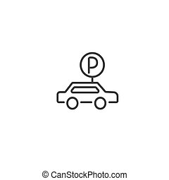 Urban and city element icon - parking lot in trendy simple line art style