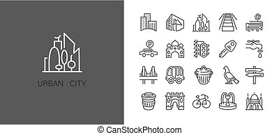 Urban and city element icon set in trendy simple line art style