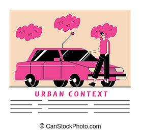 Urban and city pink car and man cartoon vector design