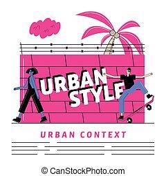 Urban and city woman and man cartoon vector design