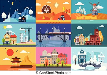 Urban and rural landscape in different seasons set vector Illustrations