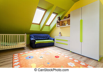 Urban apartment - green and yellow childs room