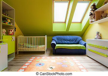 Urban apartment - sweet colorful room on the attic