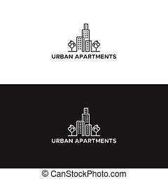 urban apartment logo black and white