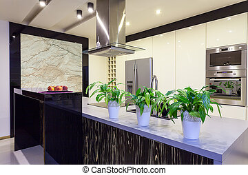 Urban apartment - Travertine kitchen