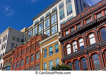 Urban architecture of Washington Dc downtown before sunset.