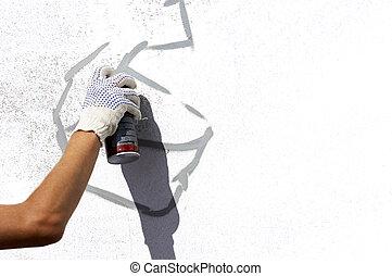 urban art - street painter(focus on the hand)