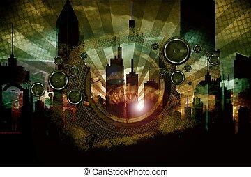 Urban Audio Madness. Cool Grungy Dark Cityscape Music...
