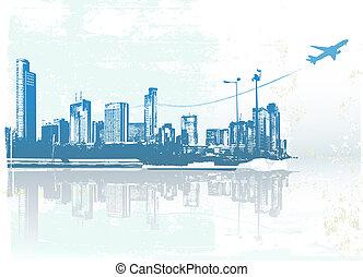 urban background - Big City - Grunge styled urban...