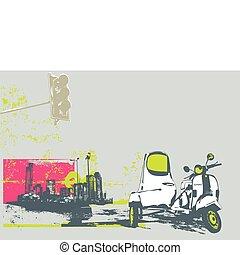 urban background - Vector illustration of vintage scooter on...