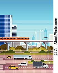 Urban Background Modern Cityscape With Highway Road And Subway Over Skyscrapers View