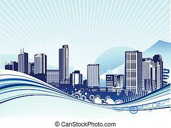 Urban background - Vector illustration of Big City. Blue ...