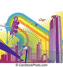 Urban background - Vector illustration of style urban...