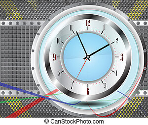 urban background with clock.
