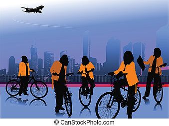 Urban background with five bicycle