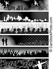 Urban banners - Set of editable vector banners on urban ...
