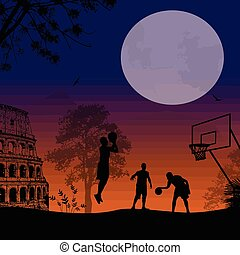 Urban basketball on beautiful sunset