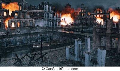 Urban battlefield scene with ruined buildings 4K - Urban...