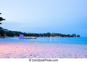 urban beach in the evening